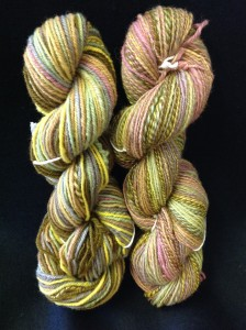 Two spun and plied hanks