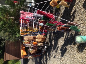 Dyed yarns in the sun